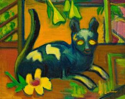 Maggie Laubser; Cat and Flower