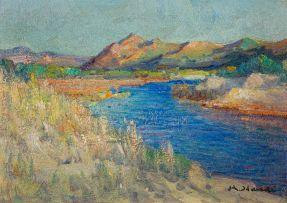 Hugo Naudé; Waterway with Distant Mountains