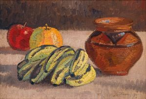Jacob Hendrik Pierneef; Still Life with Apples and Bananas