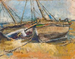 Freida Lock; Fishing Boats on the Beach