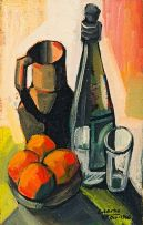 Peter Clarke; Still Life with Oranges, Bottle and Jug