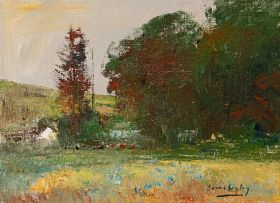 Errol Boyley; Autumnal Landscape with Grazing Cattle