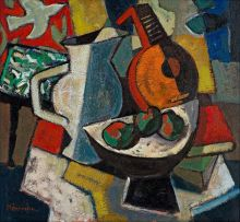Hennie Niemann Snr; Still Life with Fruit, Jug and Mandolin