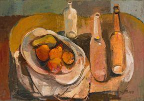 Cecil Skotnes; Still Life with Fruit and Bottles