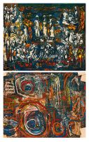 Walter Battiss; Crowd, recto; Abstract Composition, verso