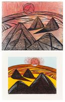 Cecil Skotnes; Haystacks, original woodblock and woodcut