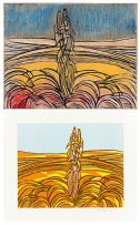 Cecil Skotnes; Wheat Fields, original woodblock and woodcut