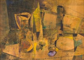 Giuseppe Cattaneo; Still Life with Vessels and Thistle