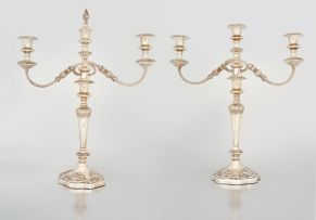 A pair of electroplate three-light candelabra, Mappin & Webb Ltd, 20th century