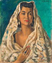 Alfred Neville Lewis; Portrait of a Woman in a Mantilla