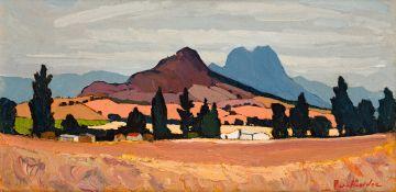 Piet van Heerden; Landscape with Cyprus Trees, Muldersvlei, CP