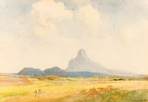William Timlin; Landscape with Figures and Distant Mountains