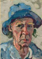 Gregoire Boonzaier; Self Portrait with Blue Hat