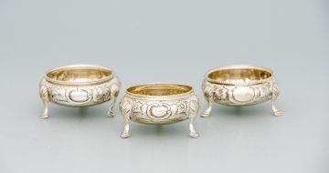 Three Victorian silver salt-cellars, mark of RH, possibly Robert Harper, London, 1859 and 1862