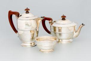 A George VI three-piece silver tea service, Adie Brothers Ltd, Birmingham, 1937 and 1938