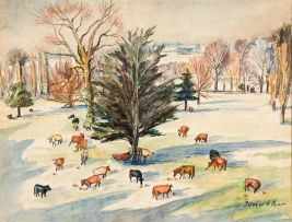 Maud Sumner; Cows Grazing Beneath the Trees