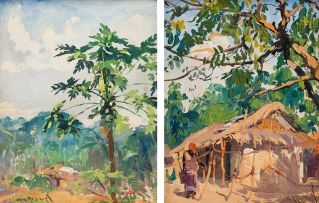 Guilherme Marques d' Oliveira; Coconut Tree; Woman Near a Hut, two