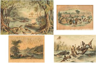 Unknown; The Adventure with a Hippopotamus,  and The Ma-Robert on The Zambesi, 1883. Two framed prints from 'The Life and Explorations of David Livingstone, LL.D. compiled from reliable sources', Adam and Co, 14 Ivy Lane, London and Newcastle, 1883.;