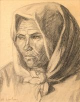 Maggie Laubser; Portrait of an Old Woman wearing a Head Scarf
