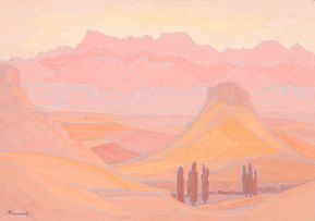 Jacob Hendrik Pierneef; Extensive Landscape in Pink, Orange and Rose