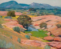 Piet van Heerden; Landscape with Trees and Mountains Beyond