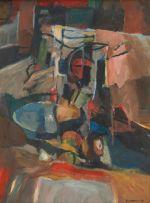 Eben van der Merwe; Still Life with Vessels and Fruit