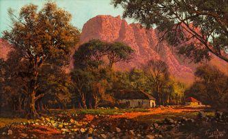Tinus de Jongh; Houses at Sunset