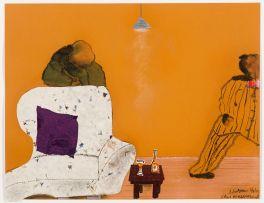 Sam Nhlengethwa and Robert Hodgins; Figures in Lounge