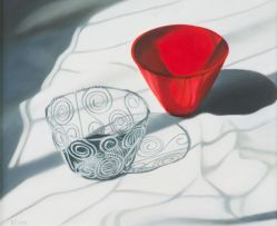 Karin Preller; Still Life with a Red Bowl and a Wire Bowl