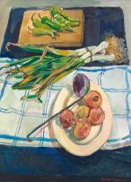 Alexander Podlashuc; Still Life with Onions and Leeks
