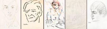 Carl Büchner; Harlequin; three portraits of boys and a sketch