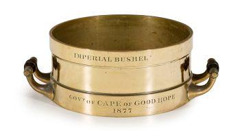 A Cape of Good Hope Imperial brass bushel, de Grave, Short & Co, London, 1877