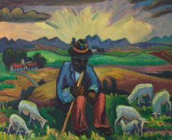 Maggie Laubser; Shepherd Seated with his Flock