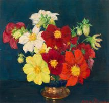 Alfred Palmer; Still Life with Dahlias in a Vase