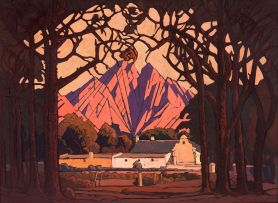 Jacob Hendrik Pierneef; Farm Jonkershoek with Twin Peaks Beyond, Stellenbosch