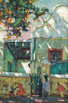 Sydney Carter; Cape Dutch Home with Green Gate