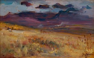 Hugo Naudé; Landscape with Purple Mountains beyond