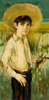Jean-Baptiste Valadié; Boy with Straw Hat and Dead Bird