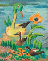 Maggie Laubser; Ducks and Flowers in a Landscape