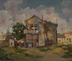 Conrad Theys; House with Balcony, District Six