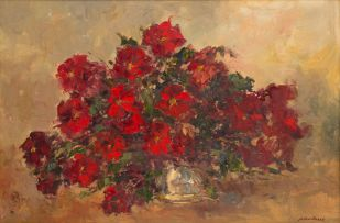 Nils Andersen; Vase with Bouquet of Red Roses