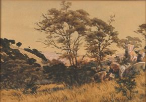 Erich Mayer; Landscape with Rocks and Trees