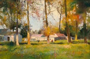 Errol Boyley; Farmstead with Figures and Trees