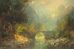 Gabriel de Jongh; Bridge Over a Stream in a Wooded Landscape