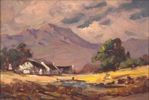 Johannes Oldert; Cape Cottages in a Mountainous Landscape