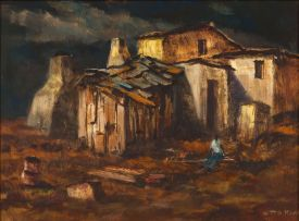Otto Klar; A Figure Seated by a Shack