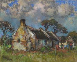 Conrad Theys; Cottages Under a Dark Sky