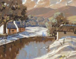 Sydney Carter; Cape Cottages with Figures by a Stream