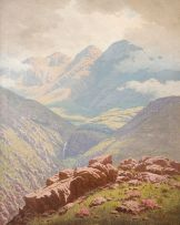Jan Ernst Abraham Volschenk; Sunlight Sheen before a Storm (scene in the Langebergen near Riversdale)