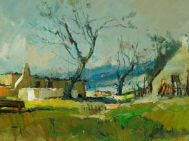 Titta Fasciotti; Landscape with Houses and Barren Trees
